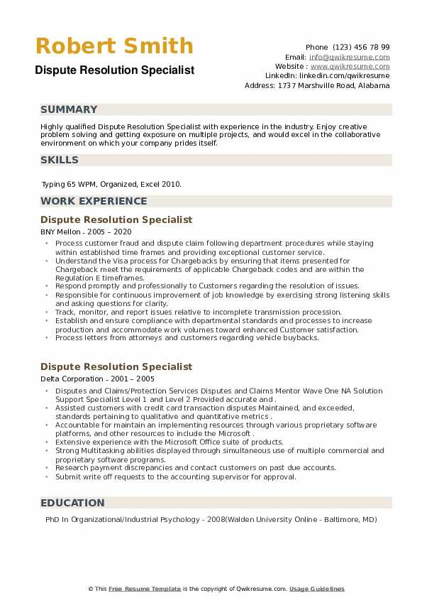 Dispute Resolution Specialist Resume example