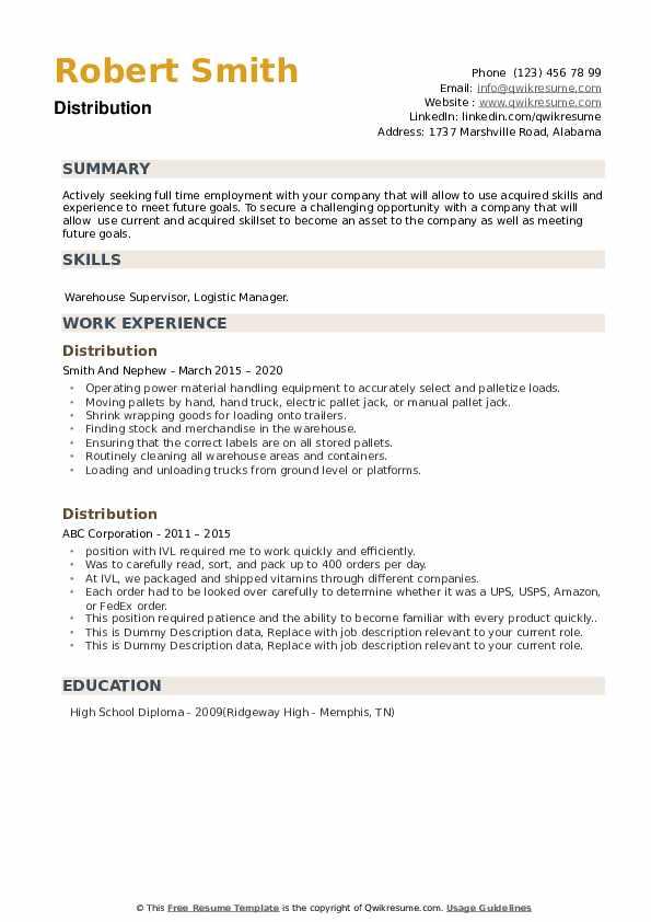 Distribution Resume example
