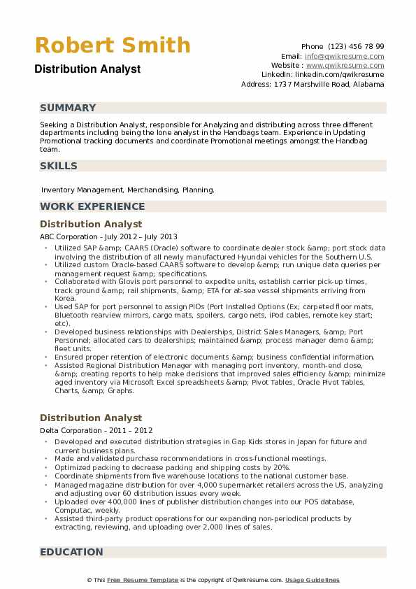 Distribution Analyst Resume example
