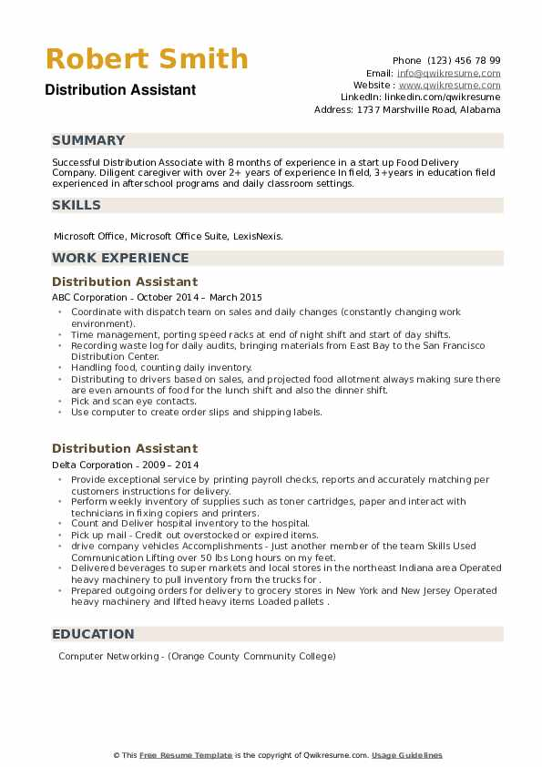 Distribution Assistant Resume example