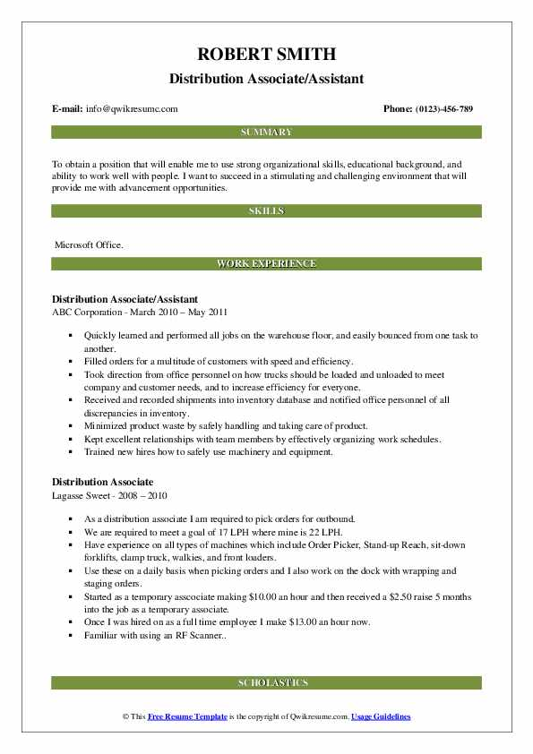 Distribution Associate/Assistant Resume Template