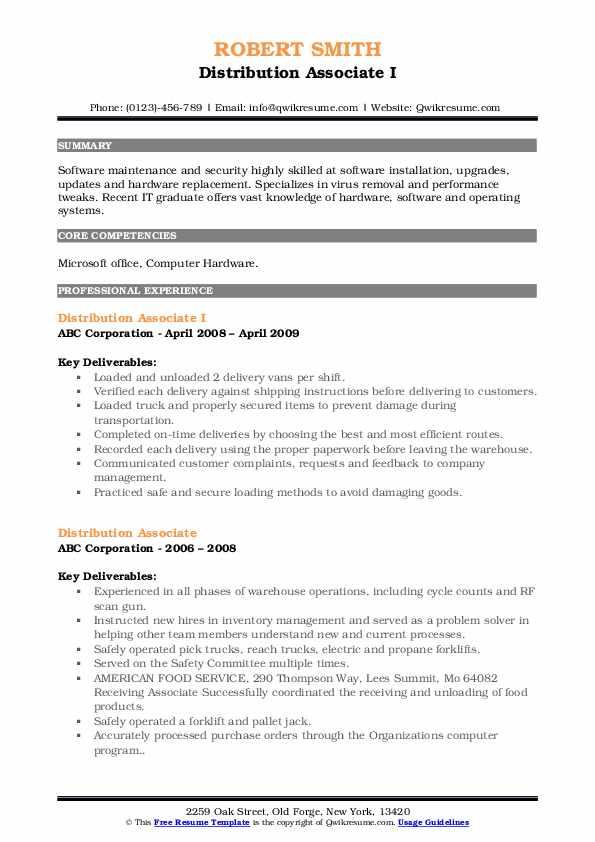 Distributing a resume