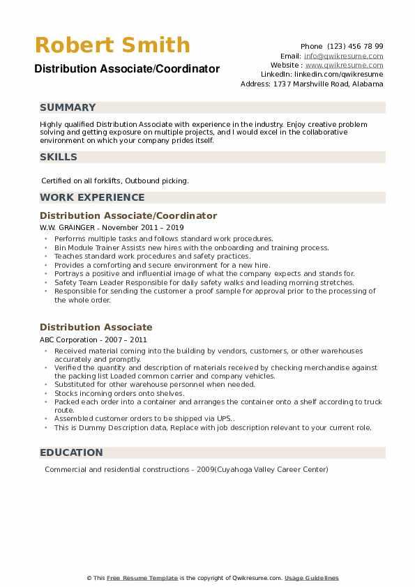 Distribution Associate/Coordinator Resume Example