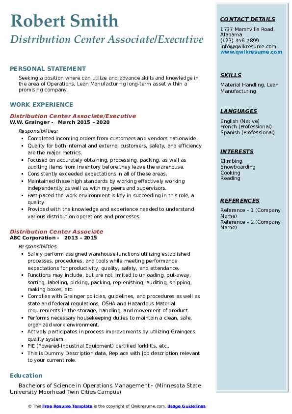 Distribution Center Manager Resume Examples and Tips - Zippia