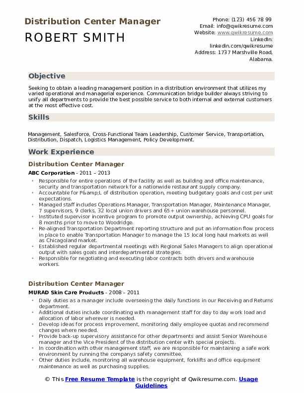 Distribution Center Manager Resume Model