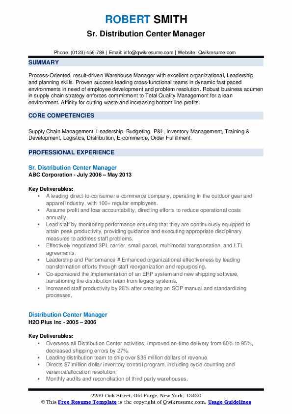 Sr. Distribution Center Manager Resume Model