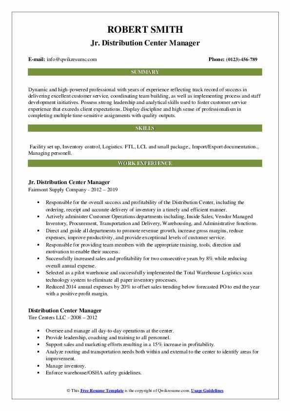 Jr. Distribution Center Manager Resume Model