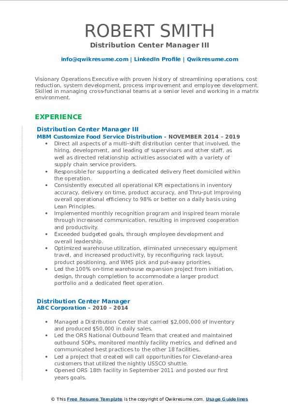 Distribution Center Manager III Resume Example