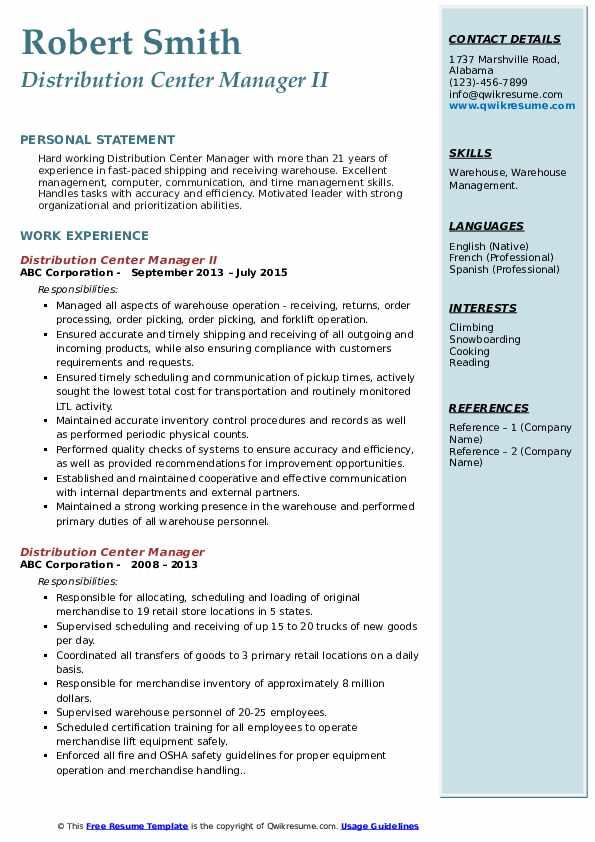 Distribution Center Manager II Resume Model