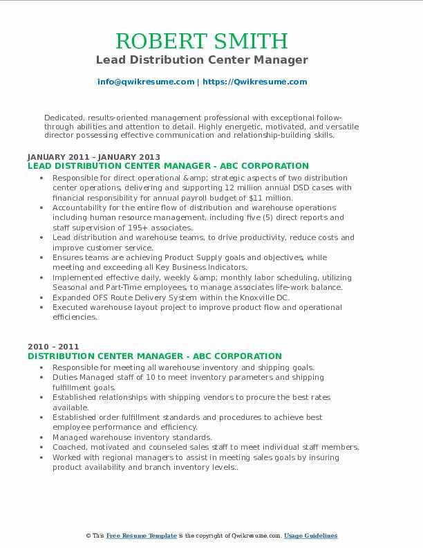 Lead Distribution Center Manager Resume Format