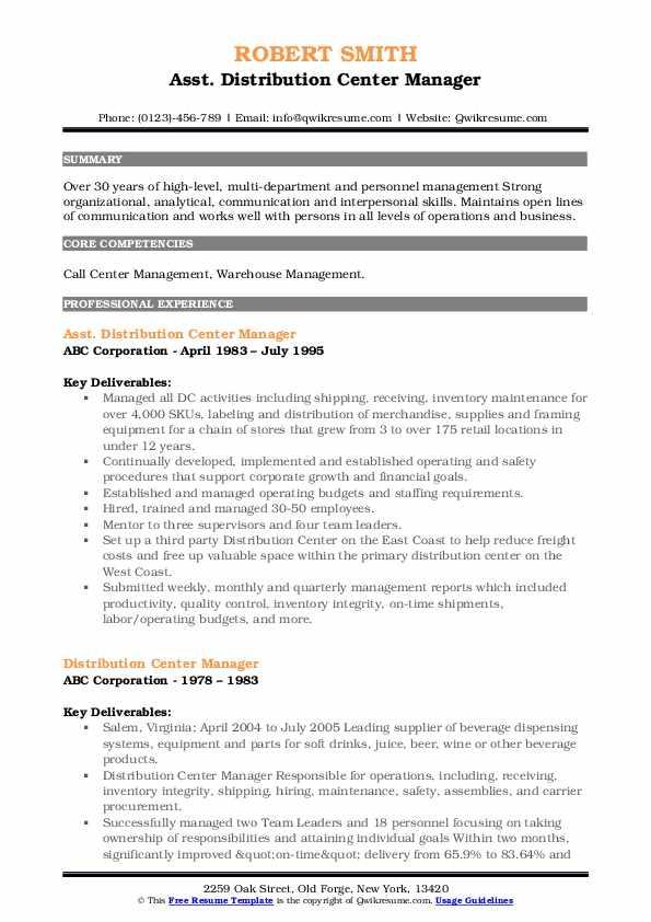 Asst. Distribution Center Manager Resume Model