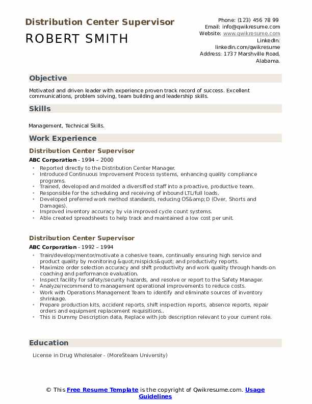 Distribution Center Supervisor Resume example