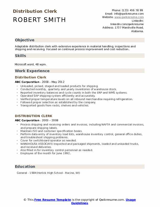 Distribution Clerk Resume Format