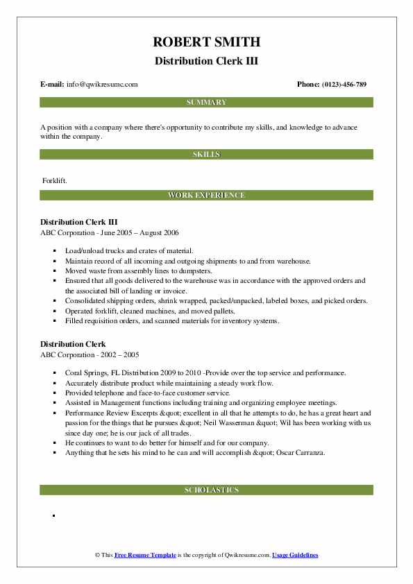 Distribution Clerk III Resume Sample