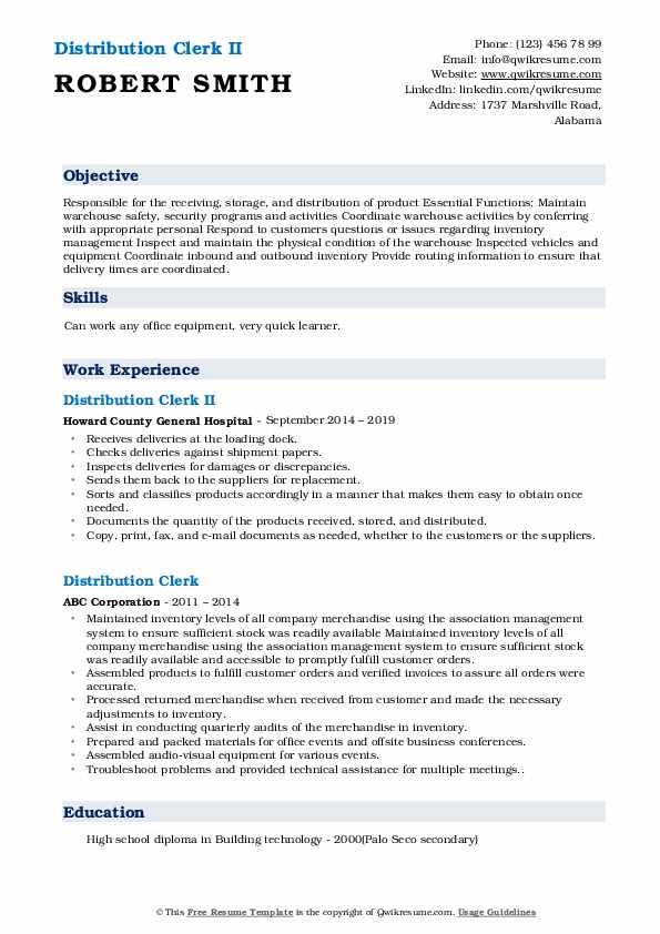 Distribution Clerk Resume Samples | QwikResume