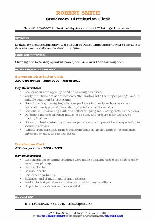 Storeroom Distribution Clerk Resume Sample