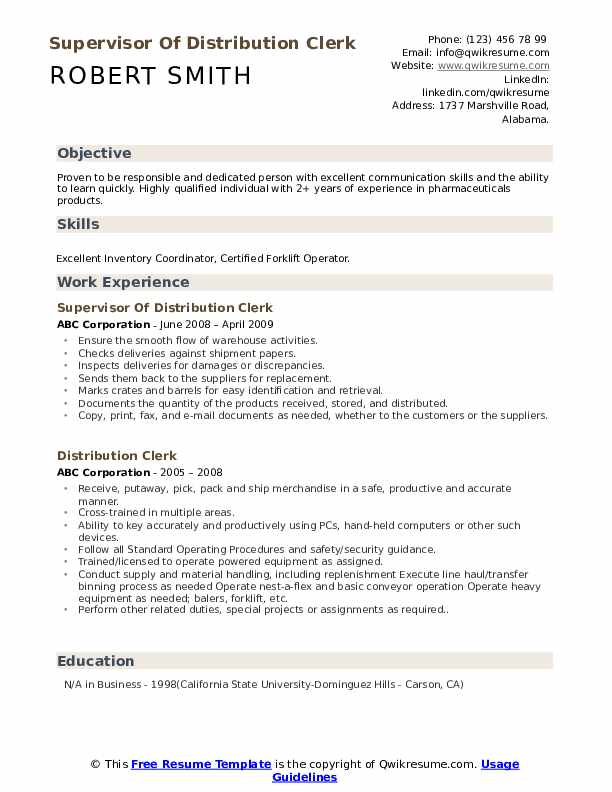 Supervisor Of Distribution Clerk Resume Example