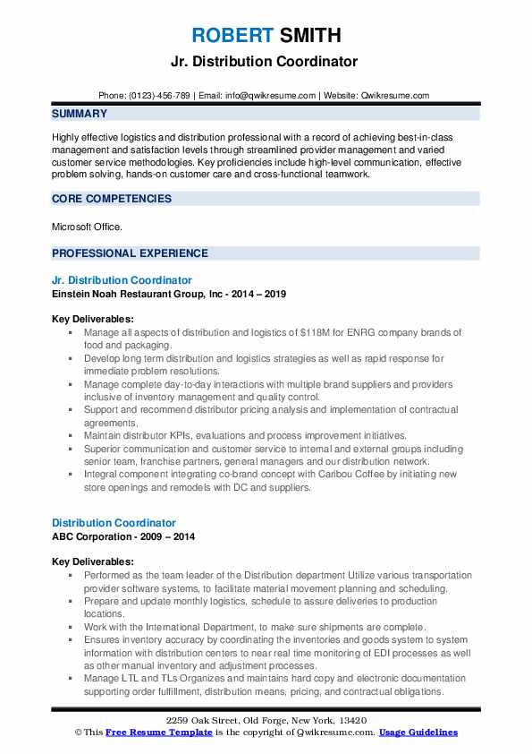 Jr. Distribution Coordinator  Resume Format