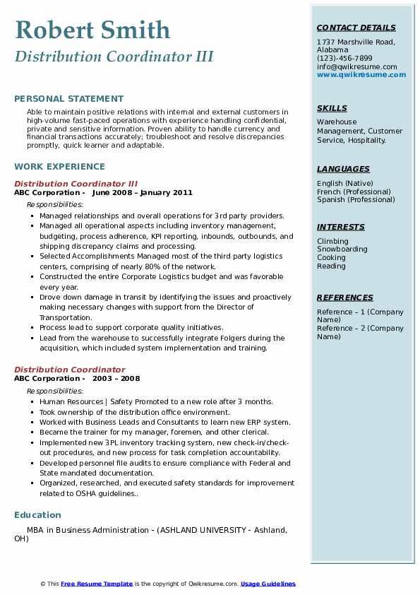 Distribution Coordinator III Resume Example