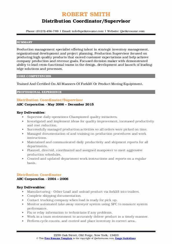 Distribution Coordinator/Supervisor Resume Template
