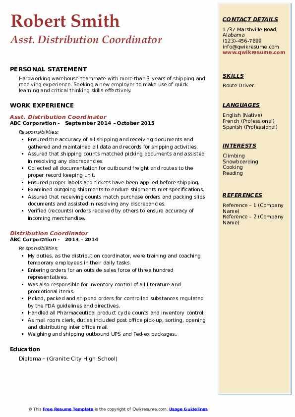Asst. Distribution Coordinator Resume Example