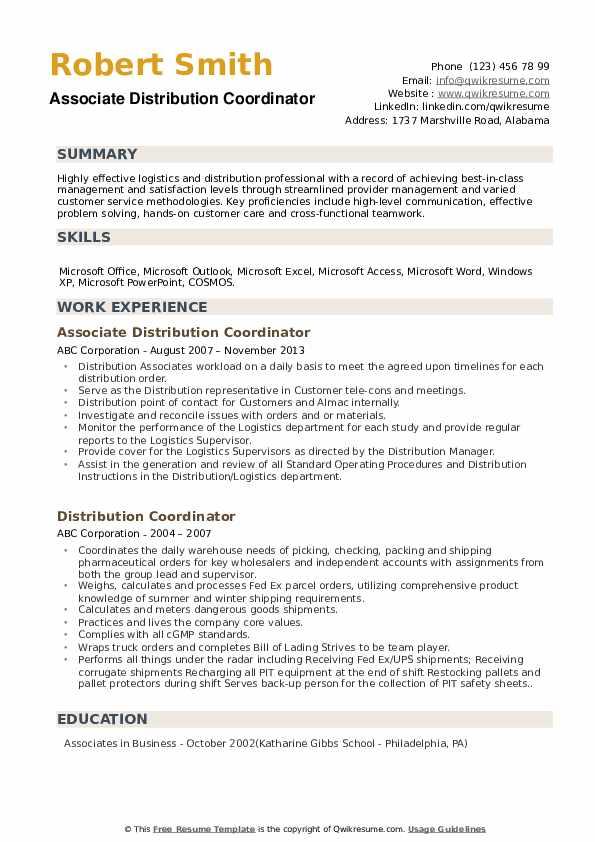 Associate Distribution Coordinator Resume Format