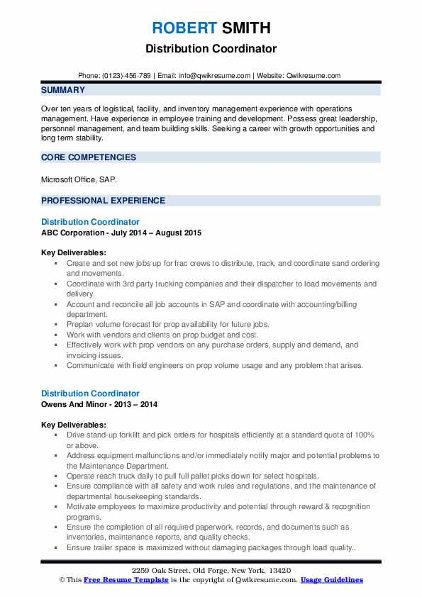 Distribution Coordinator Resume example