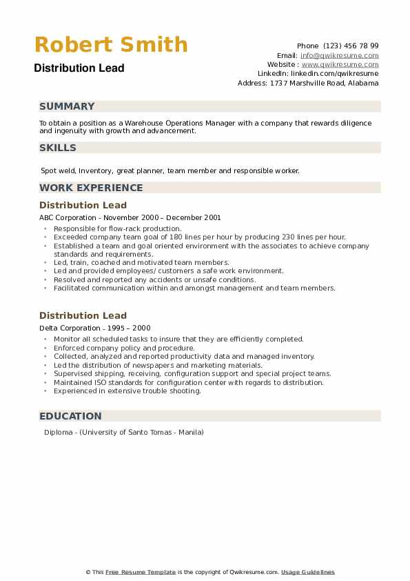 Distribution Lead Resume example