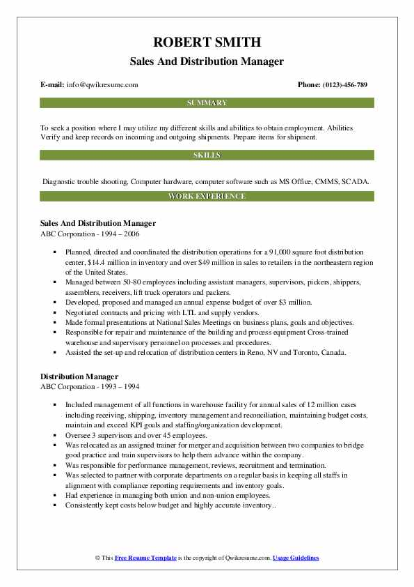 Distribution sales manager resume