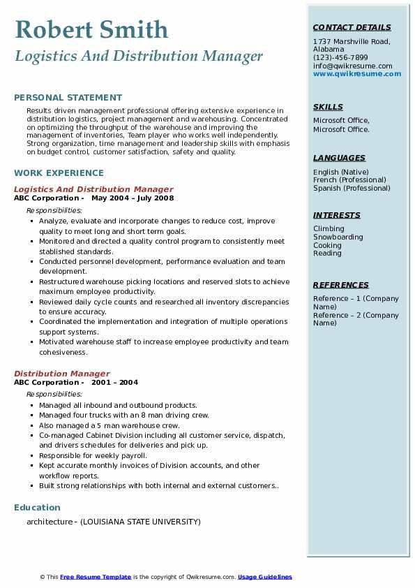 Distribution Manager Resume Samples | QwikResume