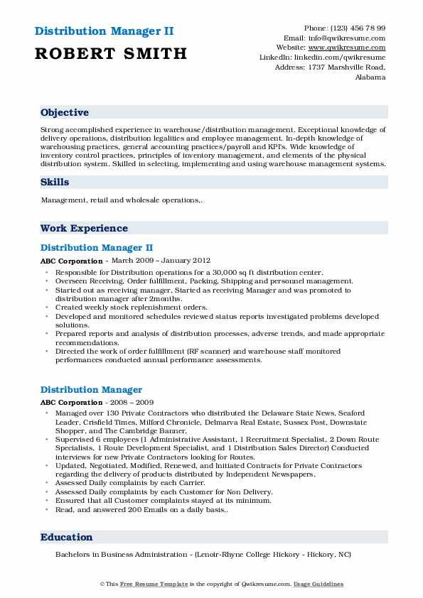 Distribution Manager II Resume Example