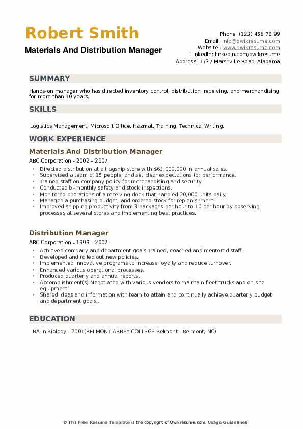 Distribution Manager Resume Samples | QwikResume