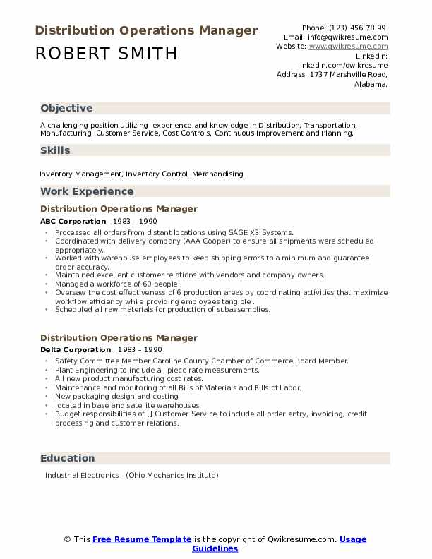 Distributor Operations Manager Resume Sample