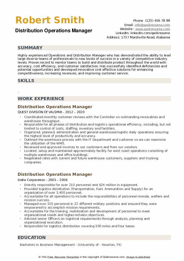 Distribution Operations Manager Resume example