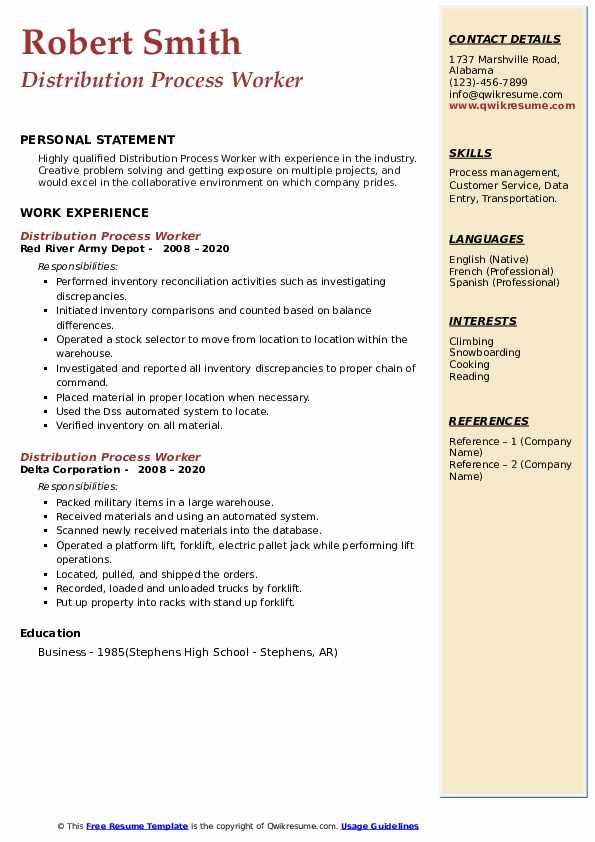 Distribution resume worker
