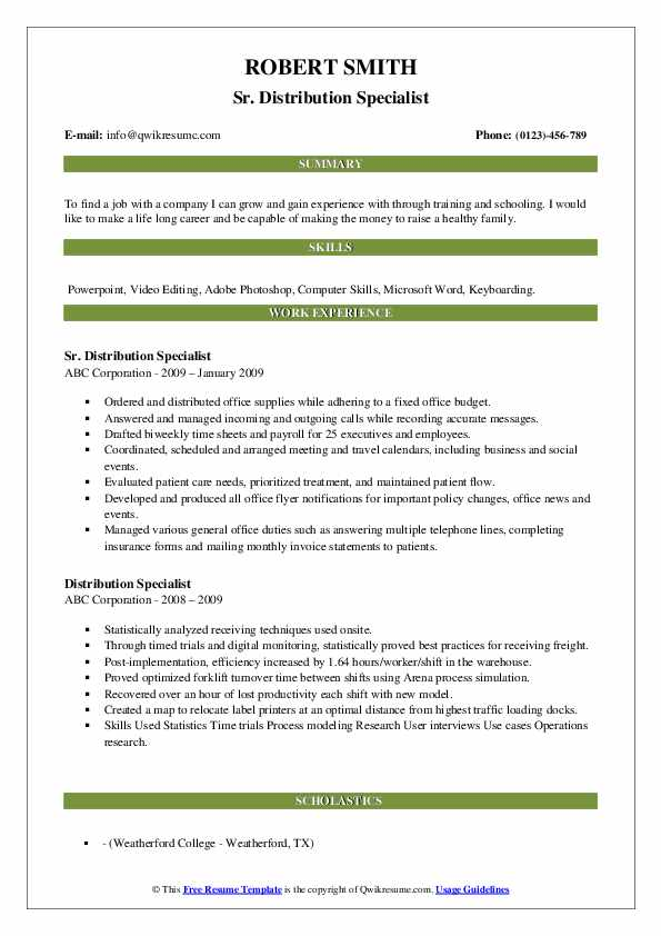 Sr. Distribution Specialist Resume Example