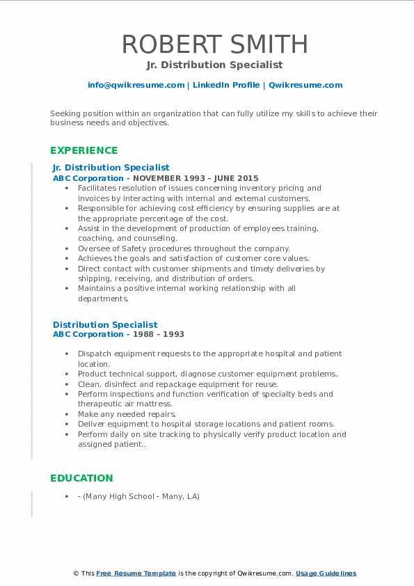 Jr. Distribution Specialist Resume Template