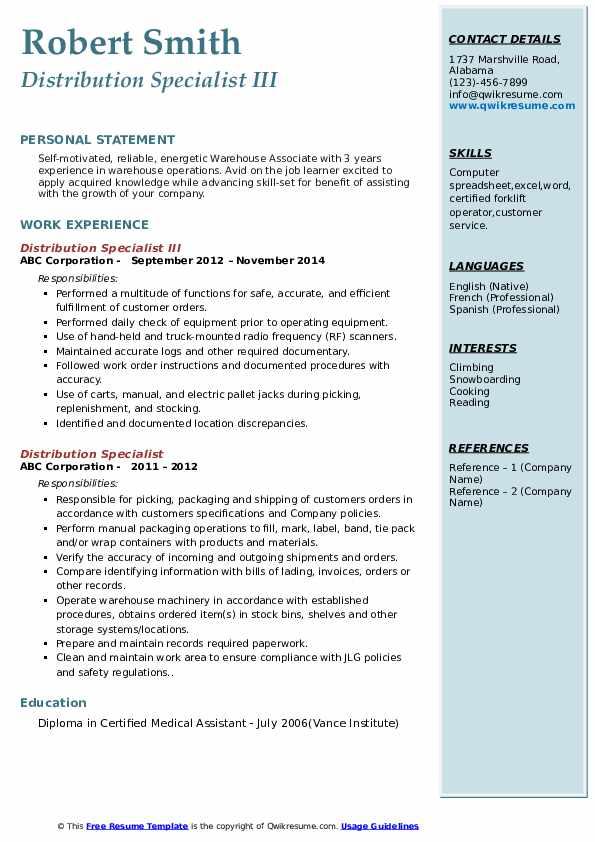 Distribution Specialist III Resume Template