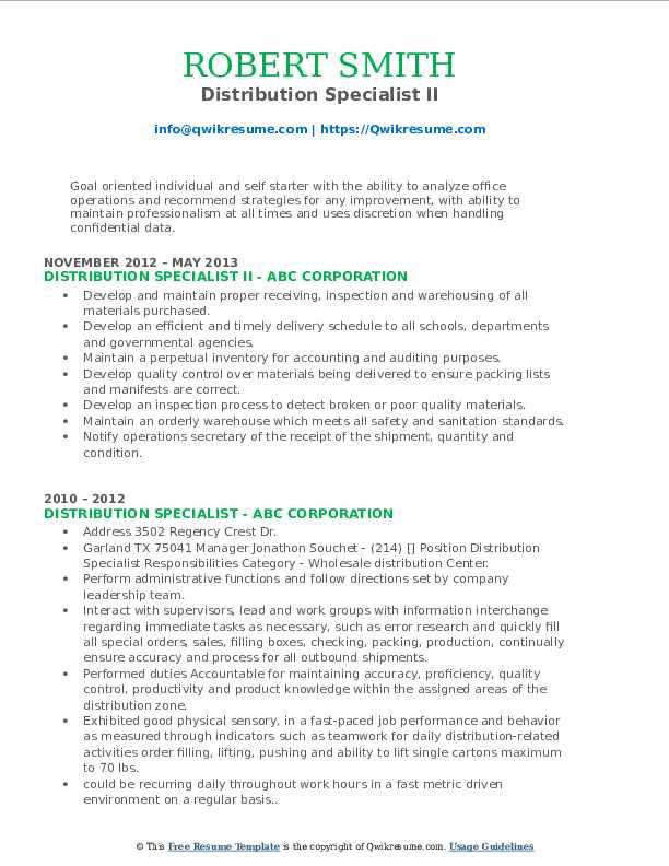 Distribution Specialist II Resume Sample