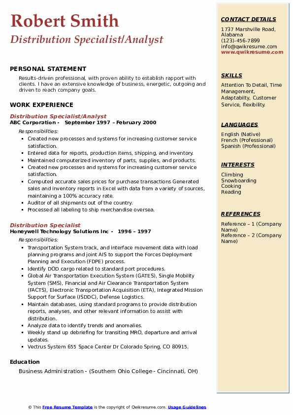 Distribution Specialist/Analyst Resume Sample