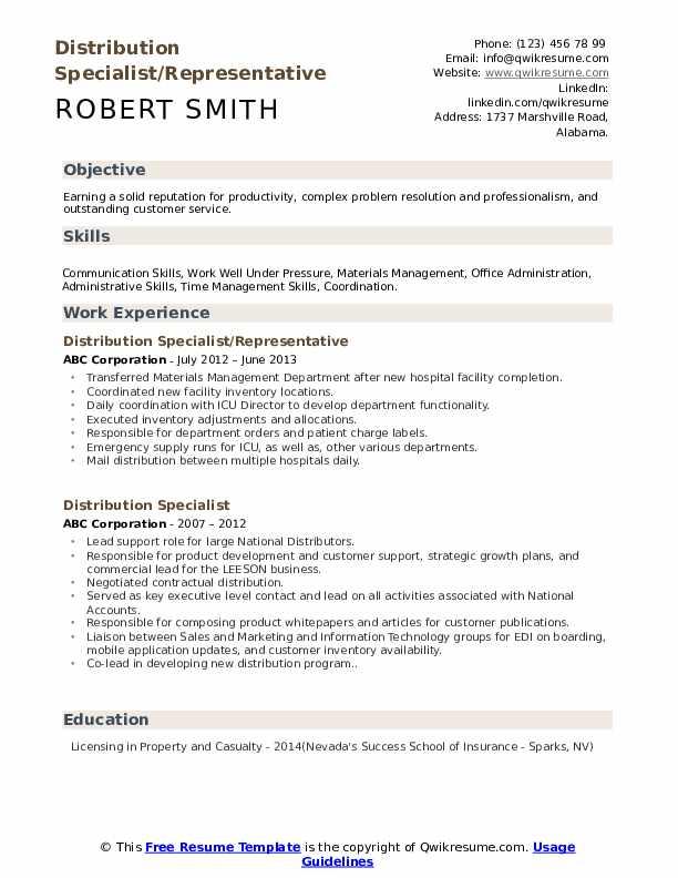 Distribution Specialist/Representative Resume Format