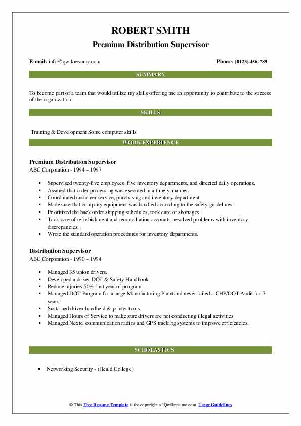Premium Distribution Supervisor Resume Sample