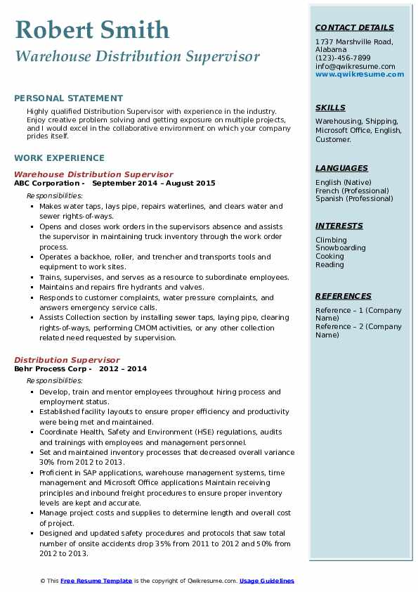 Warehouse Distribution Supervisor Resume Template