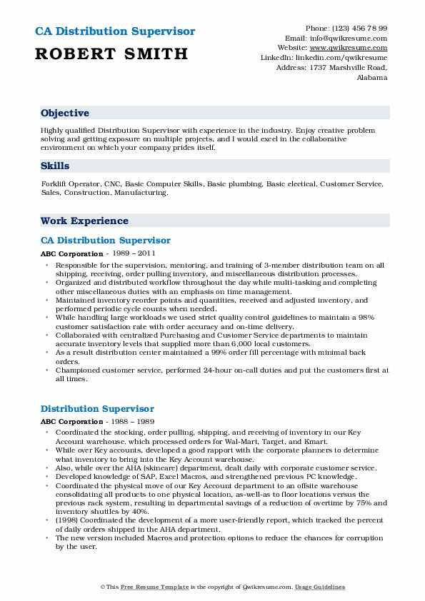 CA Distribution Supervisor Resume Example