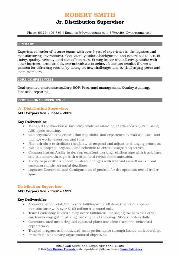 Jr. Distribution Supervisor Resume Example