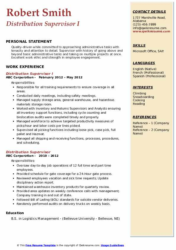 Distribution Supervisor I Resume Model