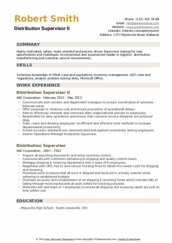 Distribution Supervisor II Resume Model