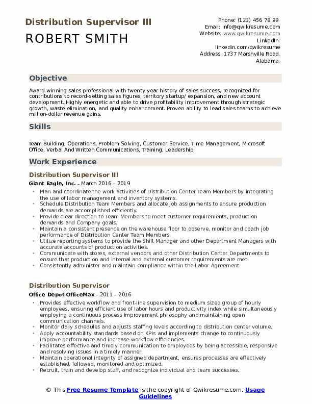Distribution Supervisor III Resume Example