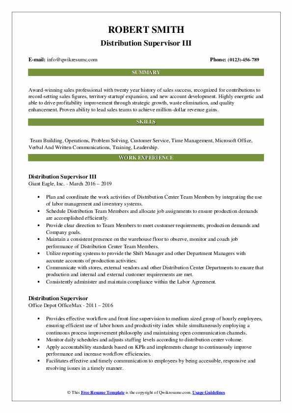 Sr. Distribution Coordinator Resume Model