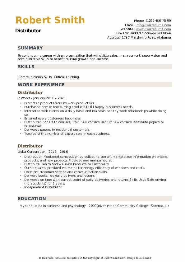 Distributor Resume example